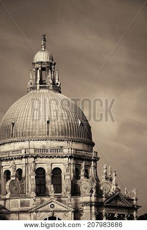 Venice Church Santa Maria della Salute dome closeup view in Italy.