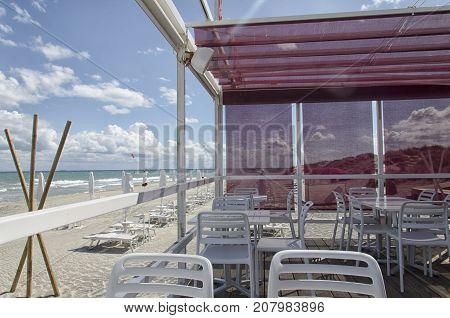 View of a pergola in a beach