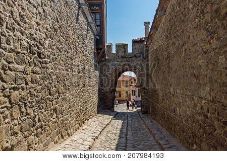 PLOVDIV, BULGARIA - SEPTEMBER 1, 2017:  Hisar Kapia - Ancient gate in Plovdiv old town, Bulgaria