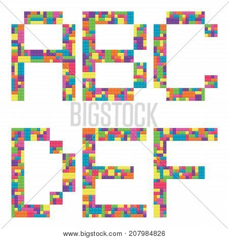 A B C D E F alphabet letters from children building block icon set vector graphic illustration