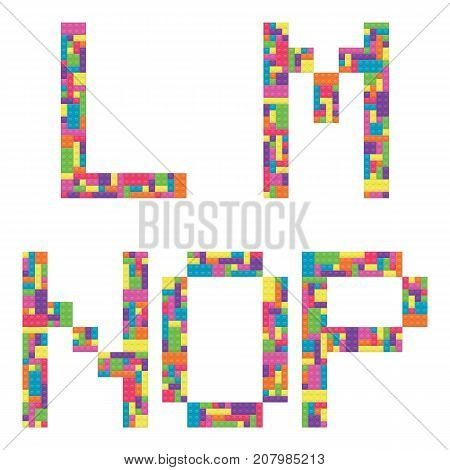 L m n o p alphabet letters from children building block icon set vector graphic illustration