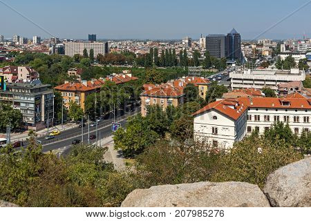 PLOVDIV, BULGARIA - SEPTEMBER 1, 2017:  Amazing Panorama to City of Plovdiv from nebet tepe hill, Bulgaria