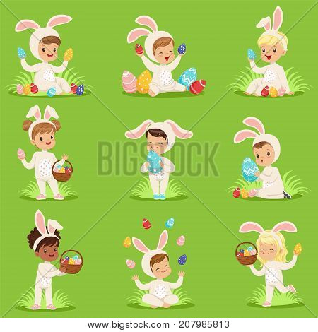 Happy Easter set of cute boys and girls in bunny costumes with colored eggs in basket. Cartoon flat children characters. Vector elements for greeting cards, posters, invitations, kid project, t-shirts