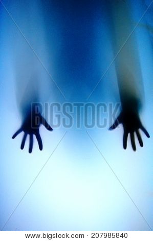 Paranormal,conceptual Photo Hand On The Glass, Silhouette Through The Glass, Hand Limbs Through Wind