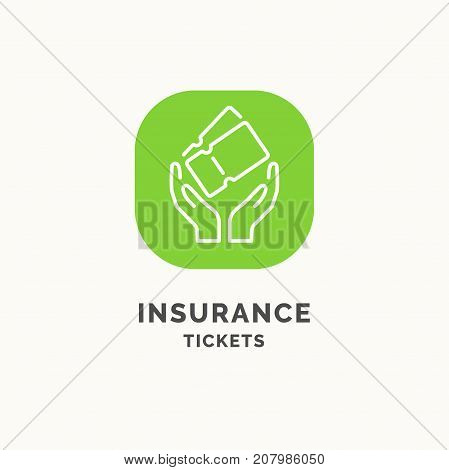 Insurance tickets during the journey. Vector illustration