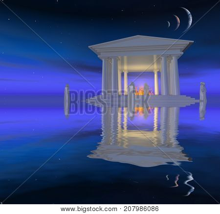 Surreal digital art. White ancient temple with fire inside is situated on a water surface. Priests stands around. Parade of planets.  3D rendering