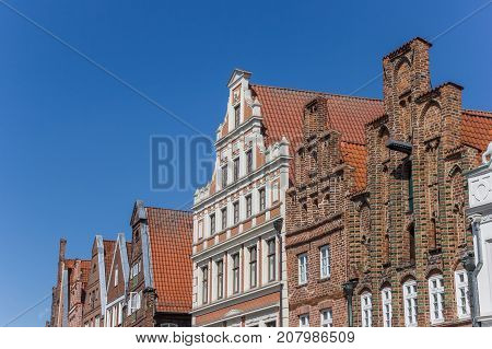 LUNEBURG, GERMANY - MAY 21, 2017: Historic facades a the central square of Luneburg Germany