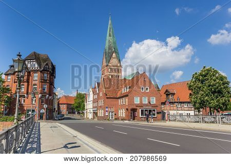 LUNEBURG, GERMANY - MAY 21, 2017: Bridge and tower iof the St. Johannis church in Luneburg Germany