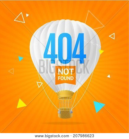 404 Not Found Concept with Triangle Geometric Shapes and Hot Air Balloon Flying Element Web Design Style. Vector illustration of Search Error