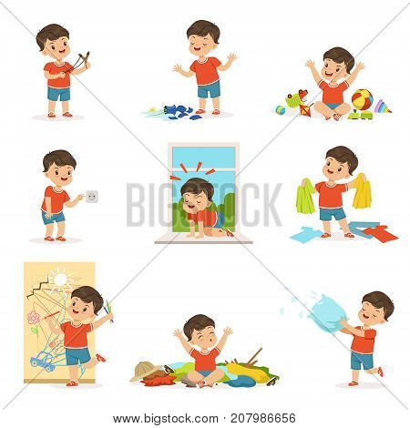 Funny little kid playing and making mess set. Shooting with a slingshot, painting on the wall, putting fingers in socket, throwing things and toys. Trouble baby boy. Cartoon character isolated vector.