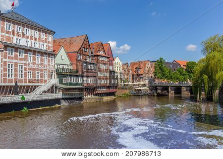 LUNEBURG, GERMANY - MAY 21, 2017: Half-timbered houses at the old harbor of Luneburg Germany