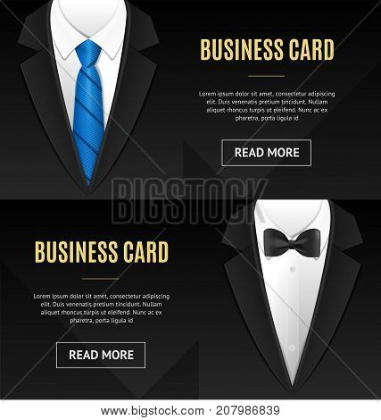 Business Card Bow Tie and Necktie Horizontal Set Formal Elegant Style Businessman Official Costume. Vector illustration of Two Cards