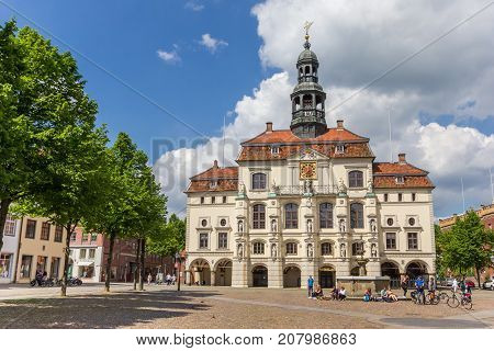 LUNEBURG, GERMANY - MAY 21, 2017: Historic town hall at the market square of Luneburg Germany