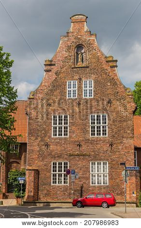 LUNEBURG, GERMANY - MAY 21, 2017: Historical building Ratsbucherei in the center of Luneburg Germany