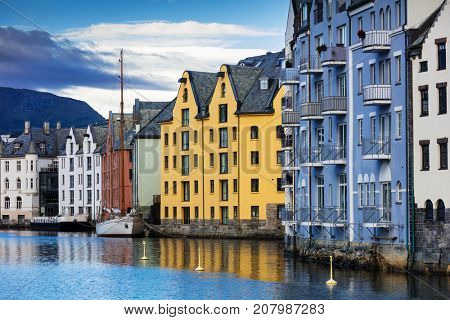 houses in center of the Alesund city, Norway
