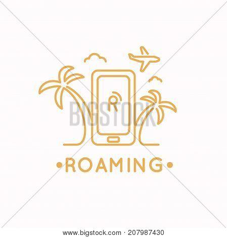Linear vector illustration of international roaming on the mobile phone.
