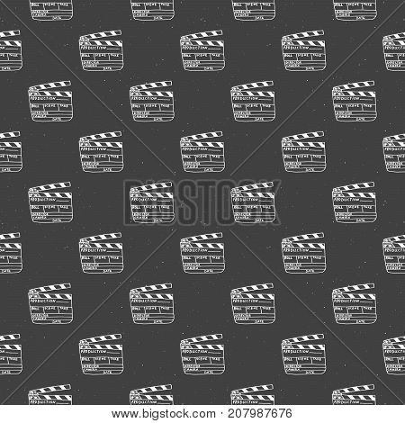 Clapperboard seamless pattern vintage handdrawn sketch retro movie industry vector illustration.