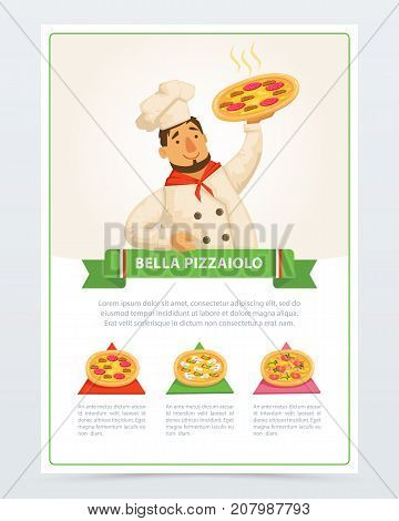 Cartoon character of italian pizzaiolo holding delicious pizza. Different ingredients mozzarella cheese, sausage pepperoni, mushrooms, olives, shrimps and tomatoes Flat vector elements for cafe menu