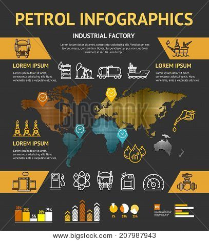 Petrol Oil Industry Business Infographic Concept Presentation Banner Card Petroleum Industrial Factory Production Project Design Brochure. Vector illustration