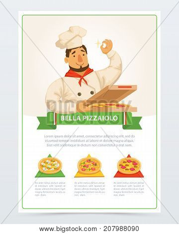 Cartoon character of italian pizzaiolo holding pizza in box. Different ingredients mozzarella cheese, sausage pepperoni, mushrooms, olives, shrimps and tomatoes . Flat vector elements for cafe menu.