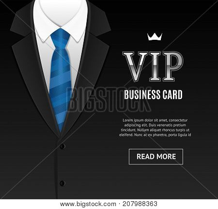 Vip Invitation with Tuxedo Tie Template Card Banner for Ceremony, Party Luxury Style Place for Text. Vector illustration Fashion Element Suit