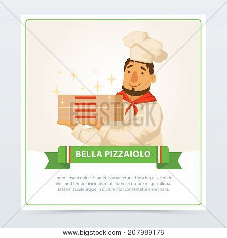 Cartoon character of italian pizzaiolo holding pizza boxes. Italy traditional meal. Popular street food. Flat element for restaurant or cafe menu. Man in chef hat. Delivery service. Vector isolated.