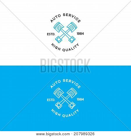 Auto auto service logo set line style isolated on background for auto repair shop, car fix, market. Stamps, banners, labels, logotype, emblem and design elements for you business. Vector illustration