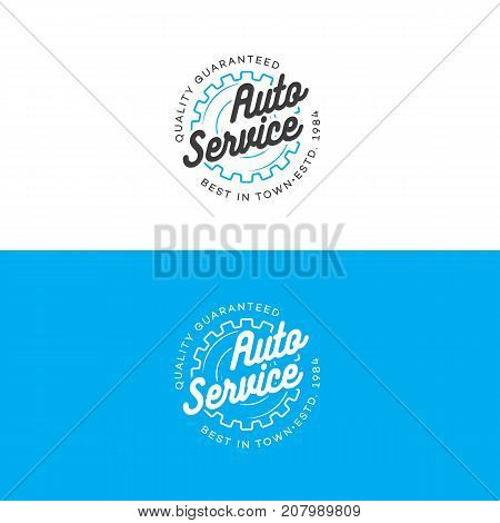 Auto auto service logo set with gear line style isolated on background for car fix, auto repair shop, market. Stamps, banners, labels, logotype, emblem and design elements for you business. Vector illustration