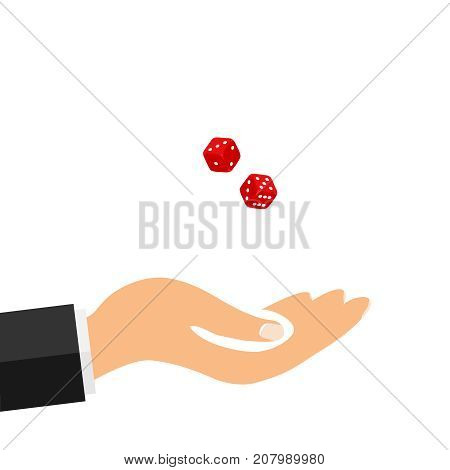 The hand tosses dice to play dice. Flat design vector illustration vector.
