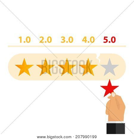 Rating. The hand removes the rating star. Flat design vector illustration vector.
