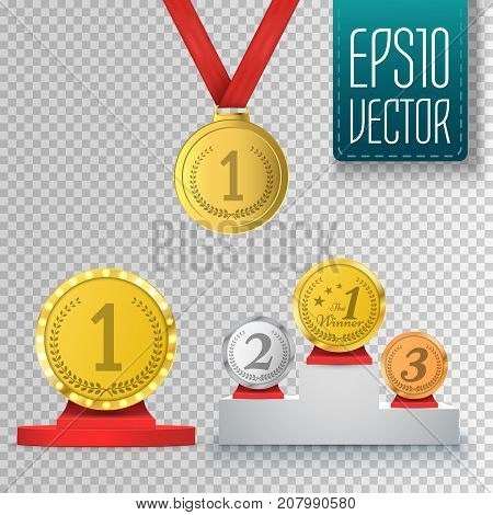 Set of winner trophy isolated on transparent background. Prize template. Medal and podium. Vector illustration