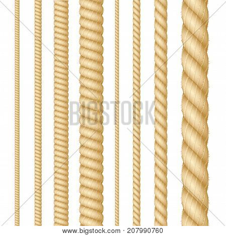 Realistic 3d Detailed Different Thickness Natural Brown Rope Line Set Marine Cordage. Vector illustration of Strong Ropes or Cords