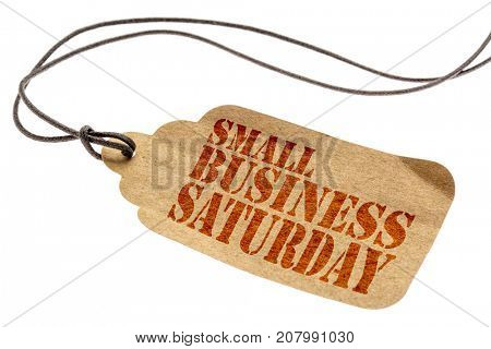 Small Business Saturday sign - a paper price tag with a twine isolated on white