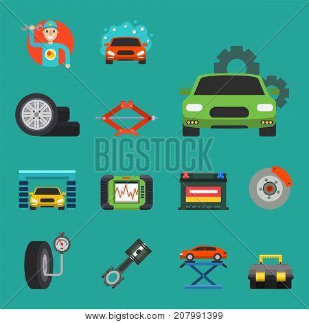 Auto car repair service symbols isolated shop worker maintenance transportation automotive mechanic vector illustration. Automobile workshop technician engine garage.