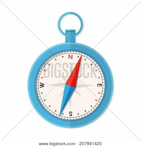 Vintage blue compass instrument, measuring tool for navigation and orientation.Flat style vector illustration isolated on white background.
