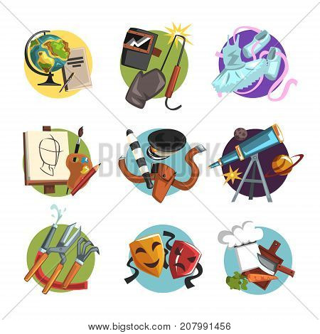 Symbols of different professions icons set, professional tools vector Illustrations isolated on a white background
