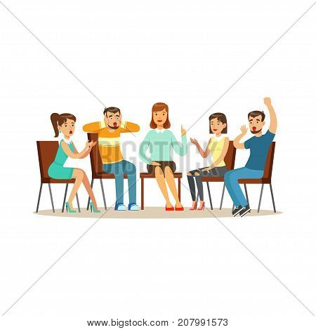 Support group therapy, psychologist counseling people with various phobias vector Illustration isolated on a white background