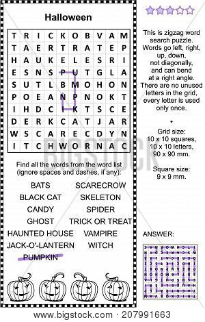 Halloween holiday themed zigzag word search puzzle (suitable both for kids and adults). Answer included.
