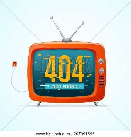Retro TV Not Found Broadcasting Concept Glitch Style Television Display Problem and Glitched Geometric Line Dynamic Element. Vector illustration