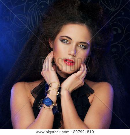 Beauty Brunette Woman with Perfect Makeup. Beautiful Professiona
