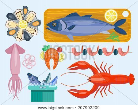 Fresh seafood flat vector illustration fish gourmet delicious restaurant cooking gourmet sea food meal. Marine appetizer prepared tasty mediterranean cuisine.