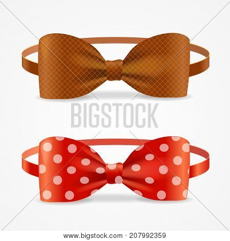 Realistic 3d Bow Tie Set Brown and with Droplets Accessory Of Hipsters, Dandy, Geek Man. Vector illustration of Element Cloth Hipster