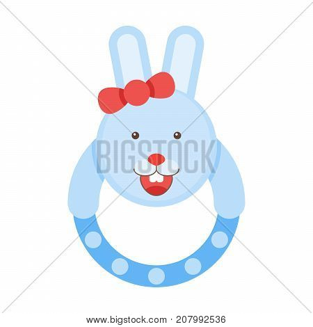 Pretty Rattle Bunny. Kids Rabbit Toys Vector Illustration