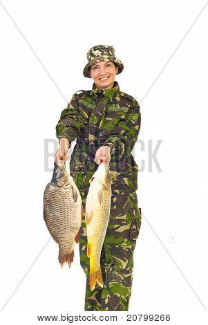 Fisher Woman Showing Big Carps