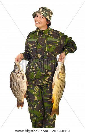 Happy Sportfisher Woman With Carps