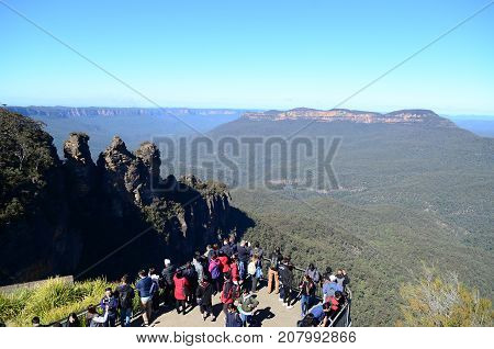 SYDNEY-AUGUST 13:People enjoy view of Blue mountain in Sydney Australia on 13 August 2017 .Blue mountain is one of the most popular place in Sydney .