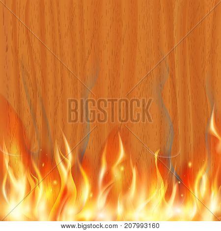 wooden banner is burning. Stock vector illustration.