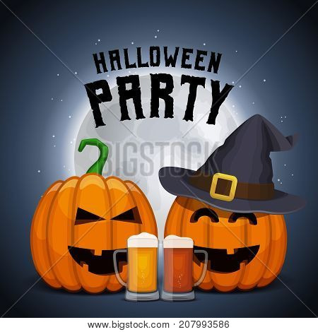 Drunk pumpkins with beer mugs. Halloween party poster. Shining moon background. Vector All Saints' Eve card.