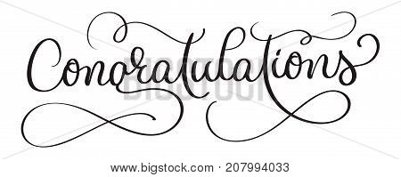Congratulations calligraphy Lettering vector Hand written text on white background. Calligraphic banner.