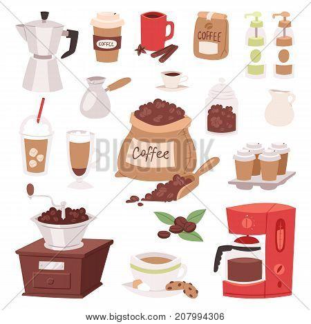 Coffee drink cartoon pot devices and morning beverage desserts espresso cup caffeine product vector illustration. Americano latte macchiato restaurant menu glass mug.